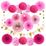 ZERODECO Party Decoration, 21 Pcs Pink Hanging Paper Fans, Pom Poms Flowers, Garlands String Polka Dot and Triangle…