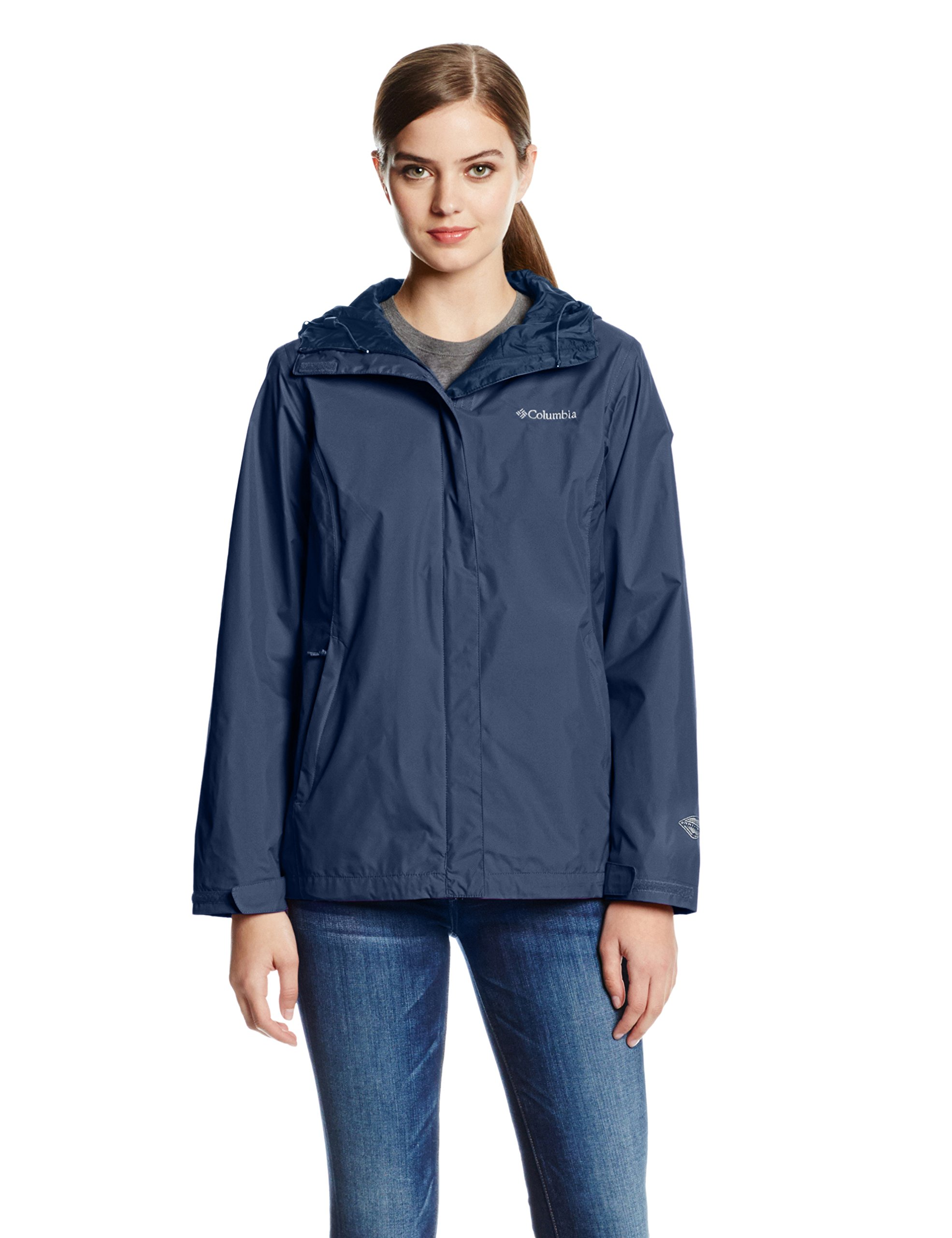 Columbia Women's Arcadia II Waterproof Breathable Jacket with Packable Hood, Navy, Small by Columbia