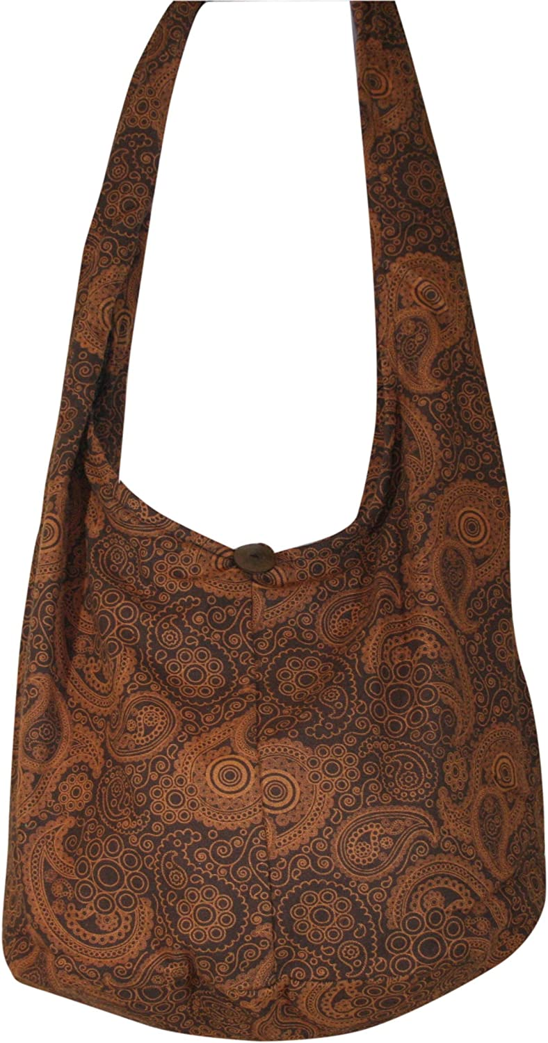 Brown Hobo Sling Bag Handmade from Recycled Fabric Adjustable Hippie Boho Crossbody Bag Large Unisex Cross Body with Pocket