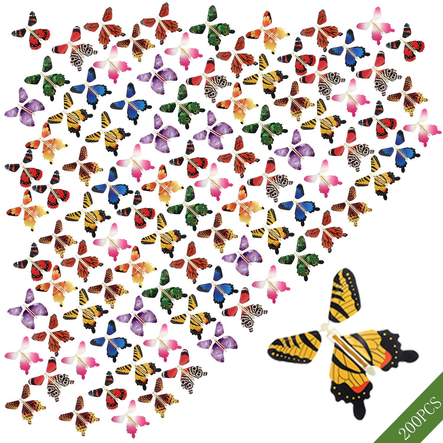beemean Magic Flying Butterfly Gift Cards - Wind Up Butterfly in The Book Fairy Toy Great Surprise Wedding (200PCS)