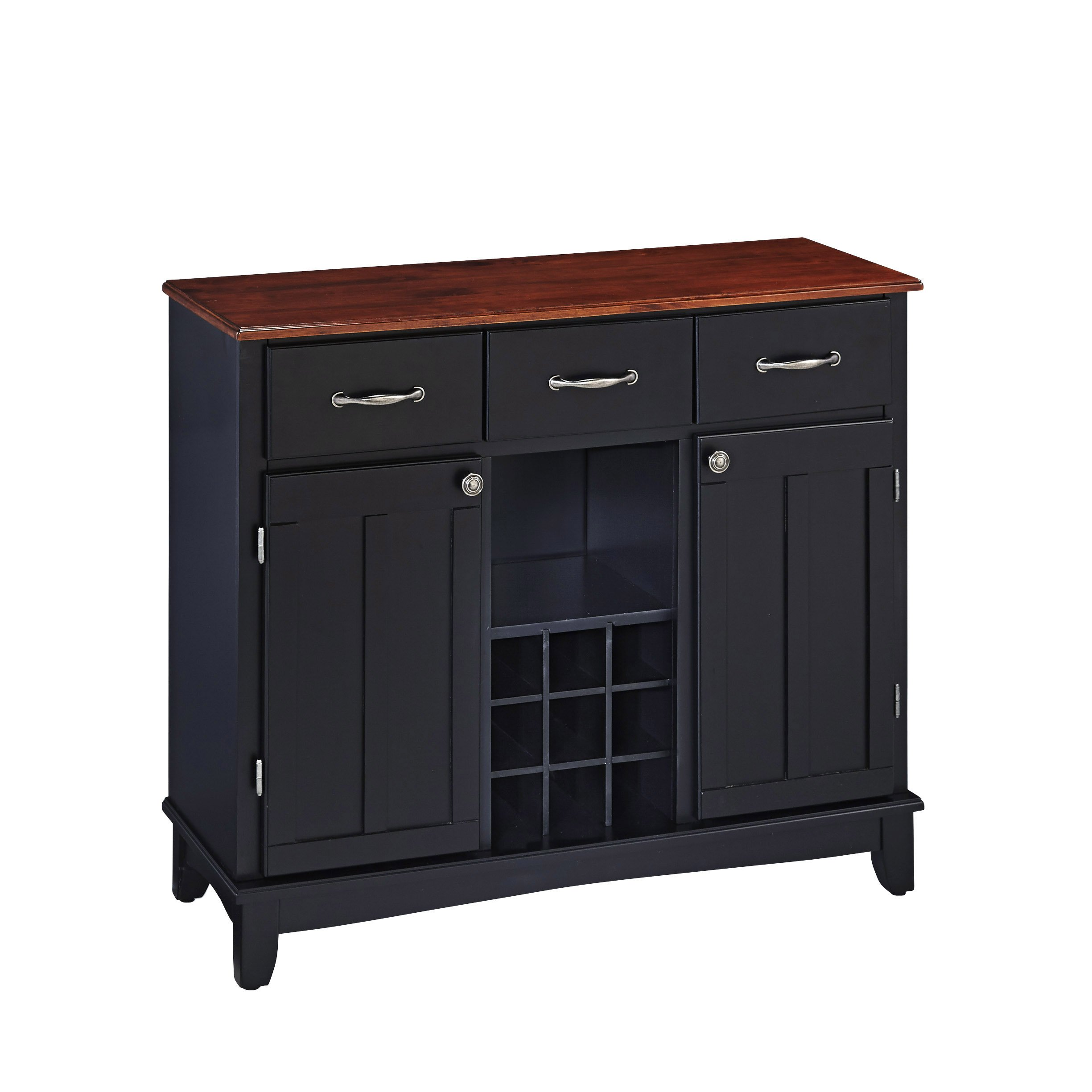 Buffet of Buffet Medium Black with Cherry Wood Top by Home Styles