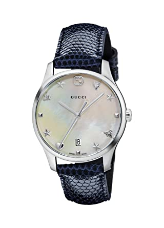 19ff608e482 Image Unavailable. Image not available for. Color  Gucci G-Timeless Mother  of Pearl Dial Ladies Leather Watch YA126588