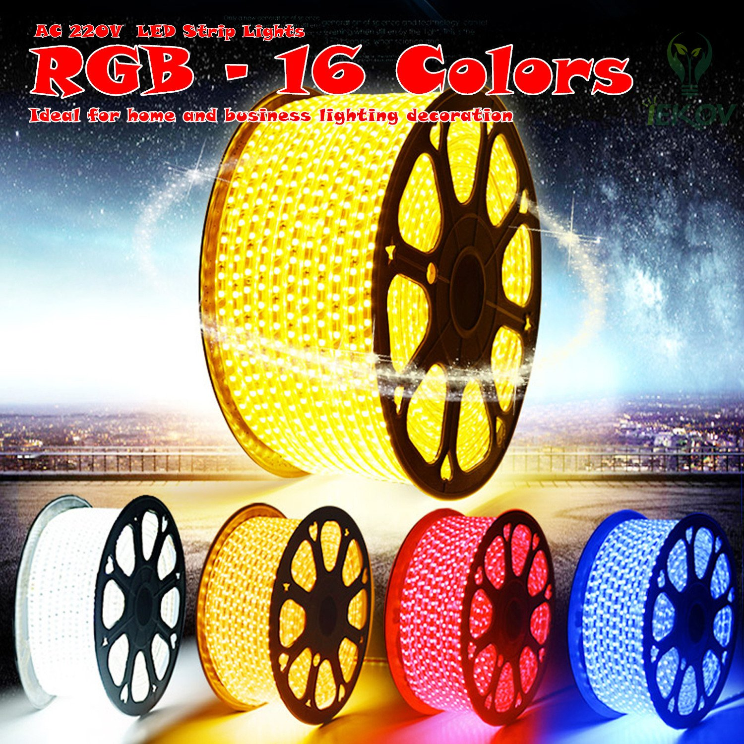 Iekov ac 220v flexible rgb led strip lights 60 ledsm waterproof iekov ac 220v flexible rgb led strip lights 60 ledsm waterproof multi color changing 5050 smd led rope light remote controller for party home mozeypictures Images