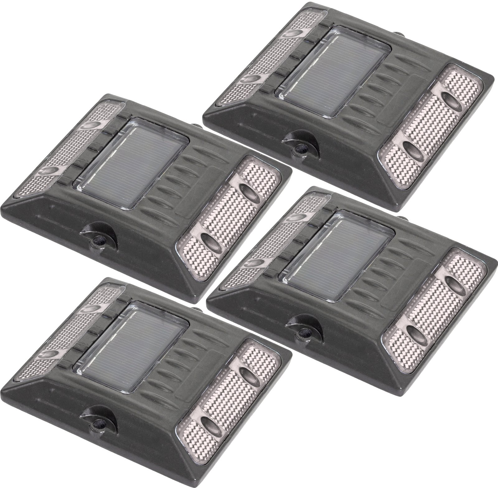 White Commercial Grade Aluminum Alloy Solar Road Stud Path Deck Dock LED Light (4 Pack)