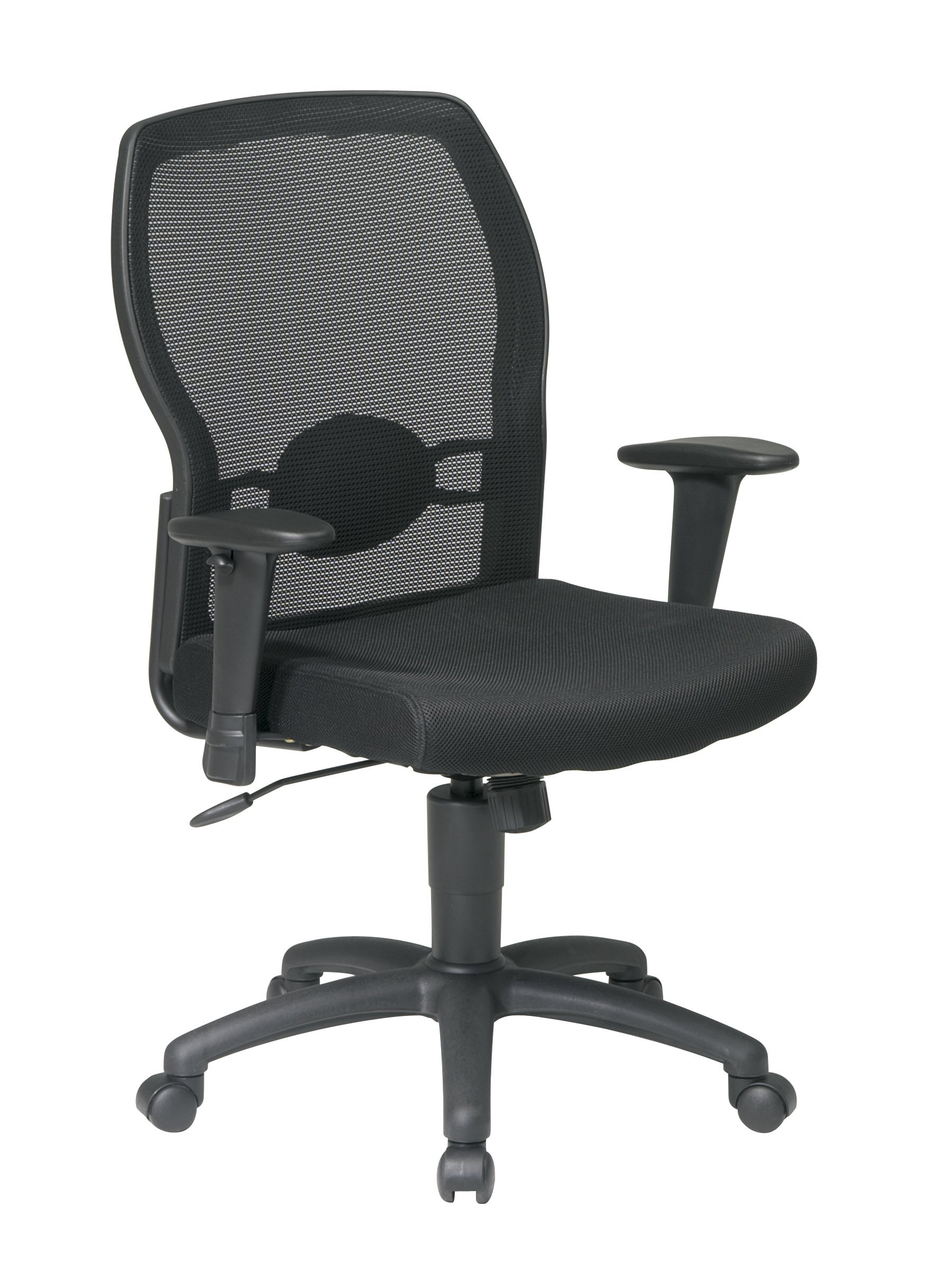 Office Star Breathable Woven Mesh Back and Padded Mesh Seat, Adjustable Arms and Lumbar Support, Nylon Base Adjustable Managers Chair, Black