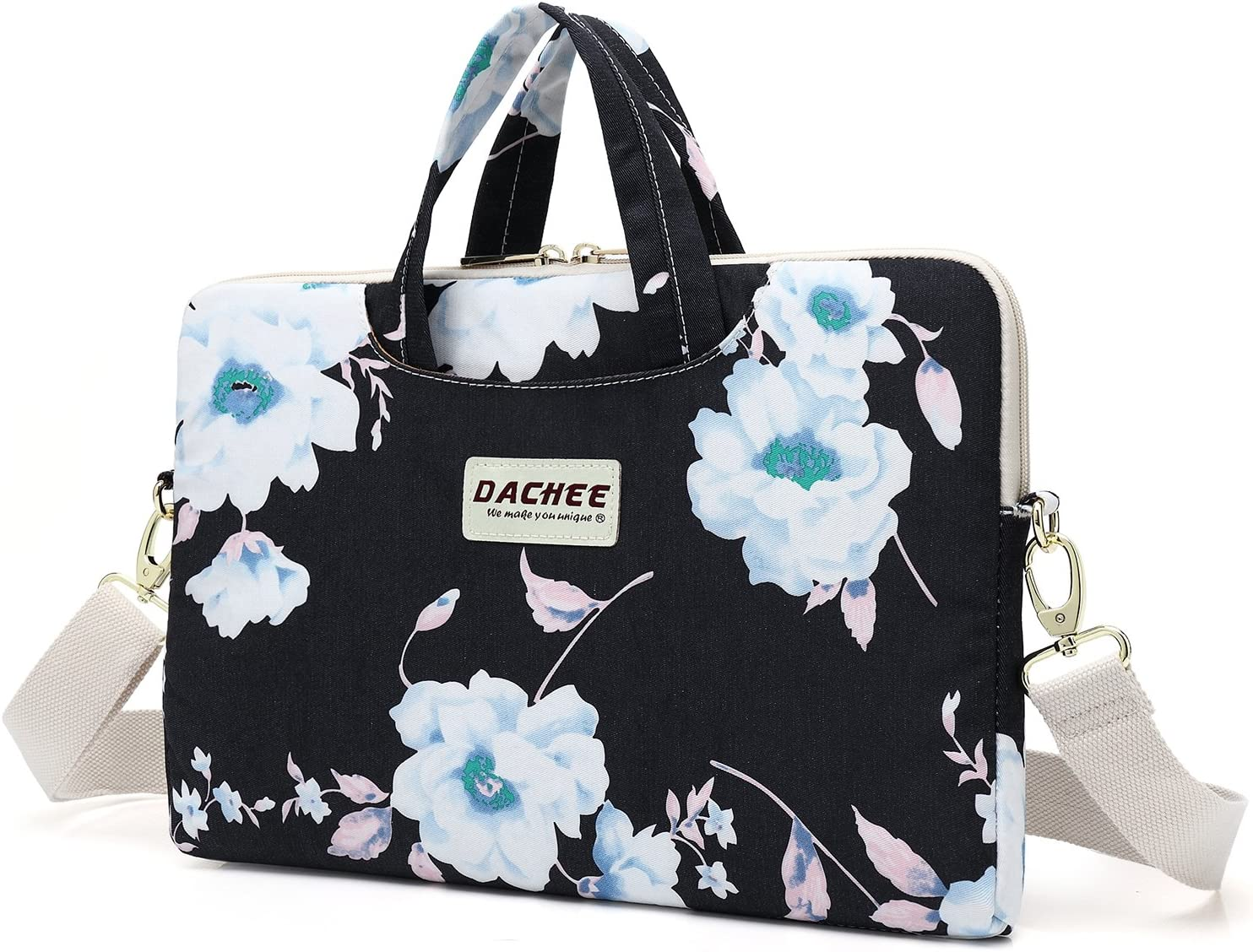 Dachee White Flower Patten Waterproof Laptop Shoulder Messenger Bag Case Sleeve for 11 Inch 12 Inch 13 Inch Laptop