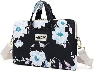 Dachee White Flower Patten Waterproof Laptop Shoulder Messenger Bag Case Sleeve for 11 Inch 12 Inch 13 Inch Laptop