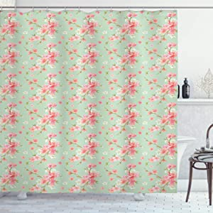 "Ambesonne Shabby Flora Shower Curtain, Retro Spring Blossom Flowers with French Garden Florets Garland Artisan Image, Cloth Fabric Bathroom Decor Set with Hooks, 84"" Long Extra, Mint Pink"
