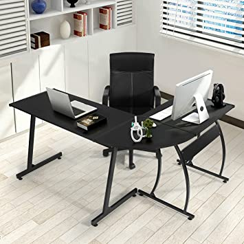 greenforest l shape corner computer office desk pc laptop table workstation home office 3