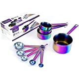 The Magical Kitchen Collection - Complete Set Of Iridescent Rainbow Measuring Cup and Spoons - 9 -Piece High Grade Stainless