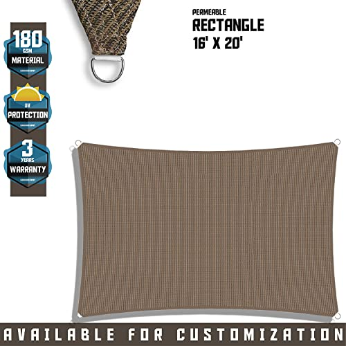 TANG Sunshades Depot 16 x 20 Sun Shade Sail Square Permeable Canopy Brown Coffee Custom Commercial Standard 180 GSM HDPE