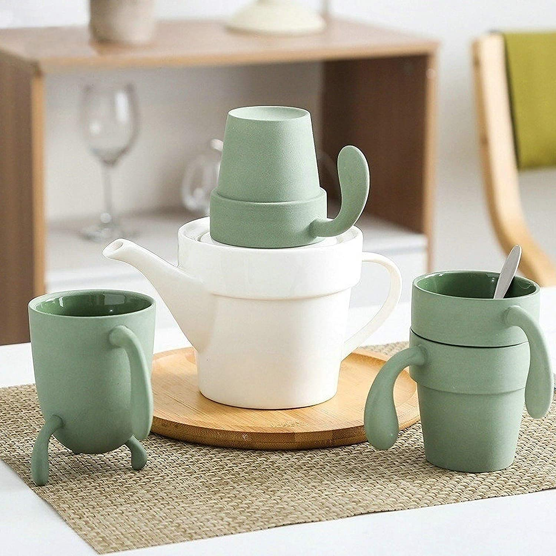 Set da t/è da viaggio in ceramica tazza da t/è e teiera con motivo cactus
