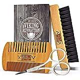 Viking Revolution Beard Comb & Beard Brush Set for Men - Natural Boar Bristle Brush and Dual Action Pear Wood Comb w/Velvet T