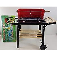 Grillstation XXL schwarz Basis Garten Balkon Picknick ✔ Rollen ✔ Seitentisch rechts ✔ eckig ✔ rollbar tragbar ✔ stehend grillen ✔ Grillen mit Holzkohle ✔ mit Station ✔ mit Rädern