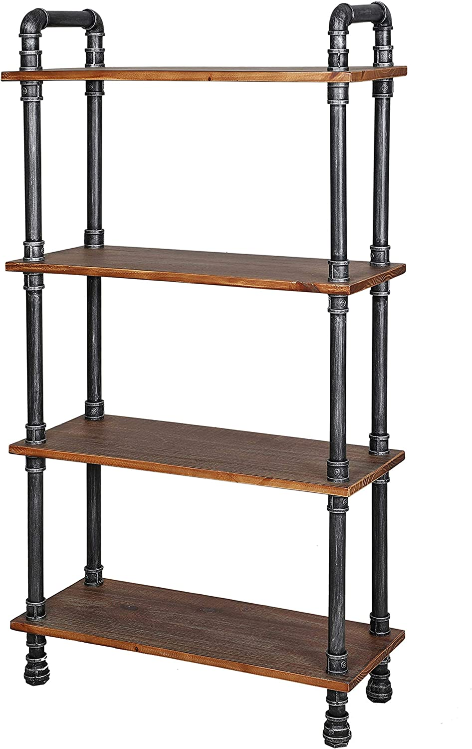 "Barnyard Designs Furniture 4-Tier Bookcase, Solid Pine Open Wood Shelves, Rustic Modern Industrial Metal and Wood Style Bookshelf, 55"" x 29.5"" x 11.5"""