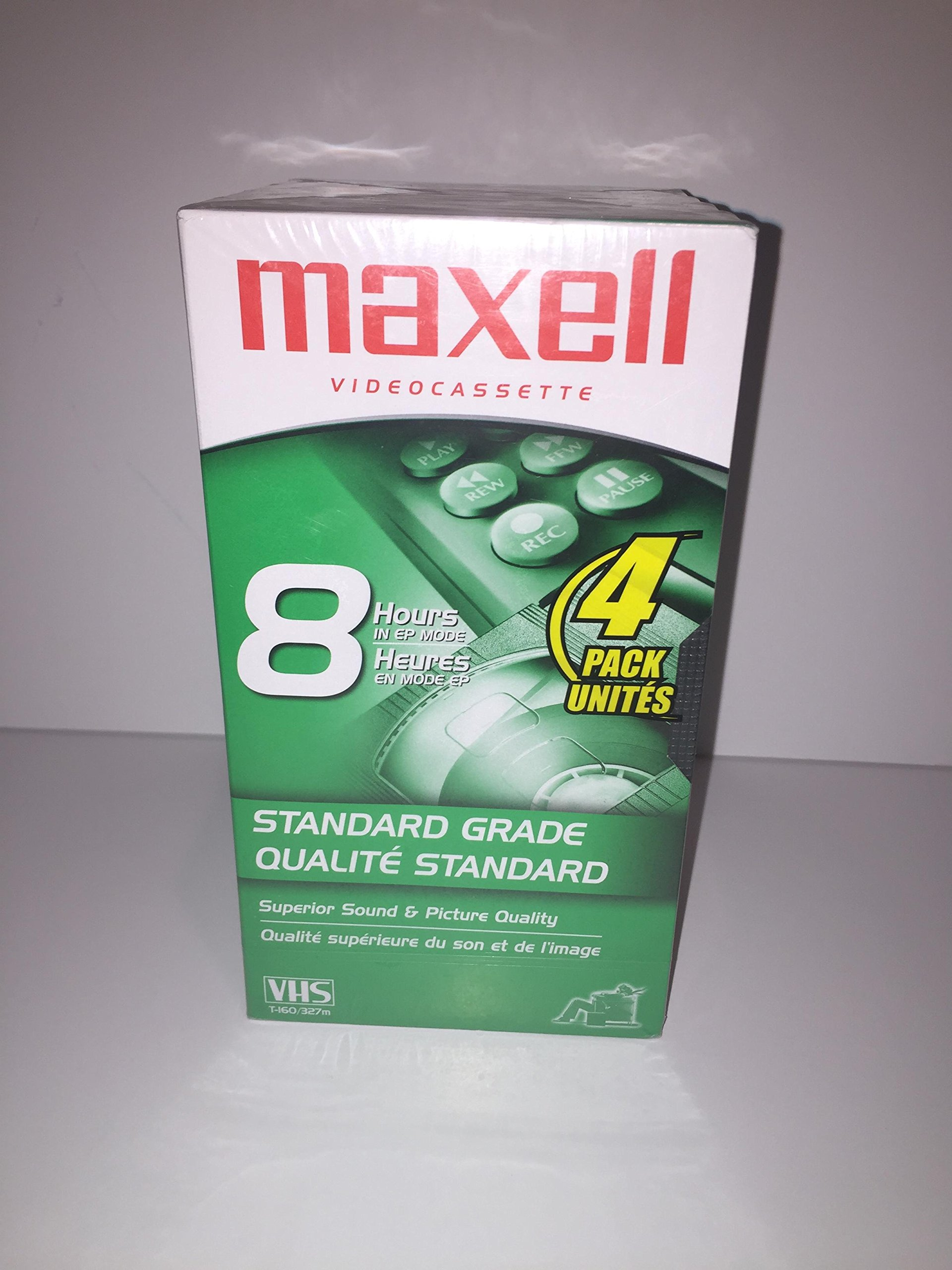 Maxell 213030 VHS T160 Standard Grade - 4 Pack