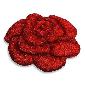 ROLLER Teppich SHAGGY ROSE 3D - rot - 80x80 cm: Amazon.de: Küche ...