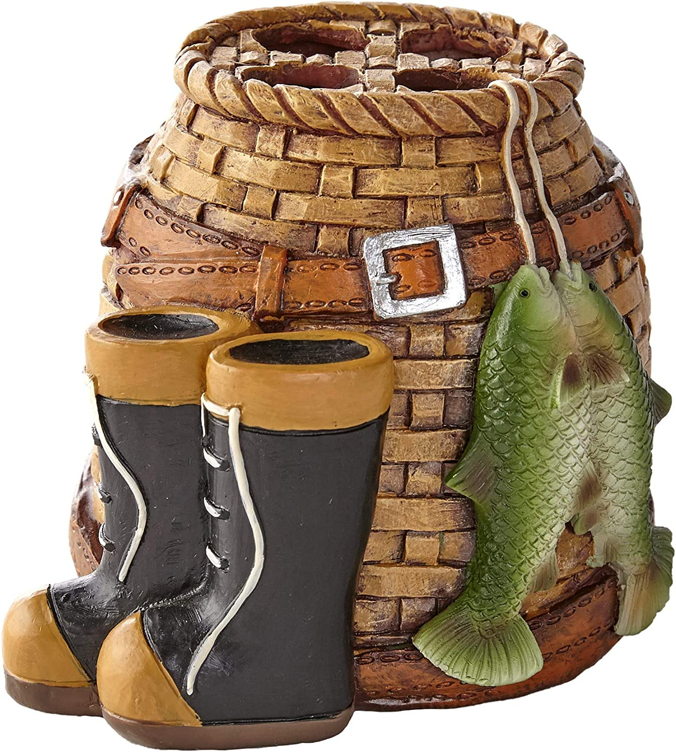 The Lakeside Collection Gone Fishing Toothbrush Holder - Rustic Bathroom Decoration