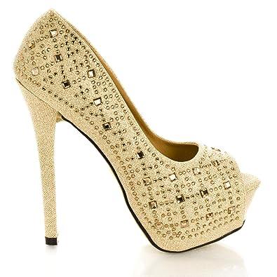 99885e9423d Glitter Mesh Dress Rhinestone Studded Peep Toe Platform Stiletto Heels