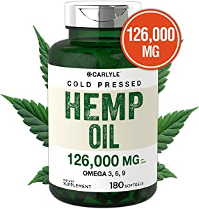 Hemp Oil Capsules   126,000 mg Per Bottle   180 Softgels   Max Potency   Non-GMO, Gluten Free   Cold Pressed Supplement from Hemp Seeds   by Carlyle