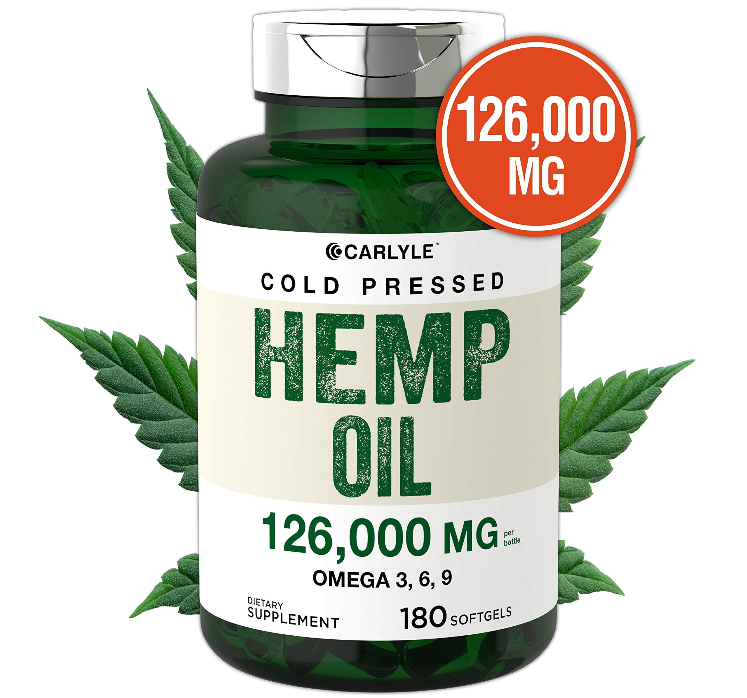 Hemp Oil Capsules   126,000 mg Per Bottle   180 Softgels   Max Potency   Non-GMO, Gluten Free   Cold Pressed Supplement from Hemp Seeds   by Carlyle by Carlyle