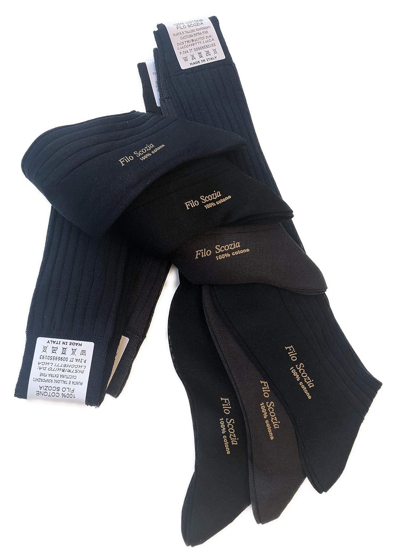 b0cbeb1e6a05 Lucchetti Socks Milano 6 PAIA calze da uomo lunghe filo di scozia 100%  cotone rimagliate Made in Italy  Amazon.it  Abbigliamento