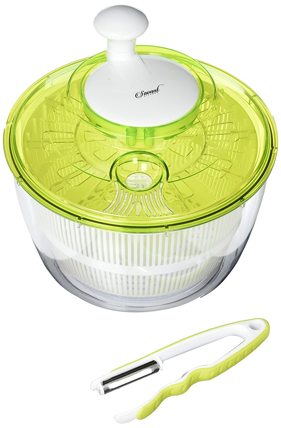 Jumbo Salad Spinner - High Quality Large Salad Set 5L - Easily Spin & Dry Salads & Vegetables - Perpetual Peeler and eBook included Savant Kitchen COMINHKPR98471