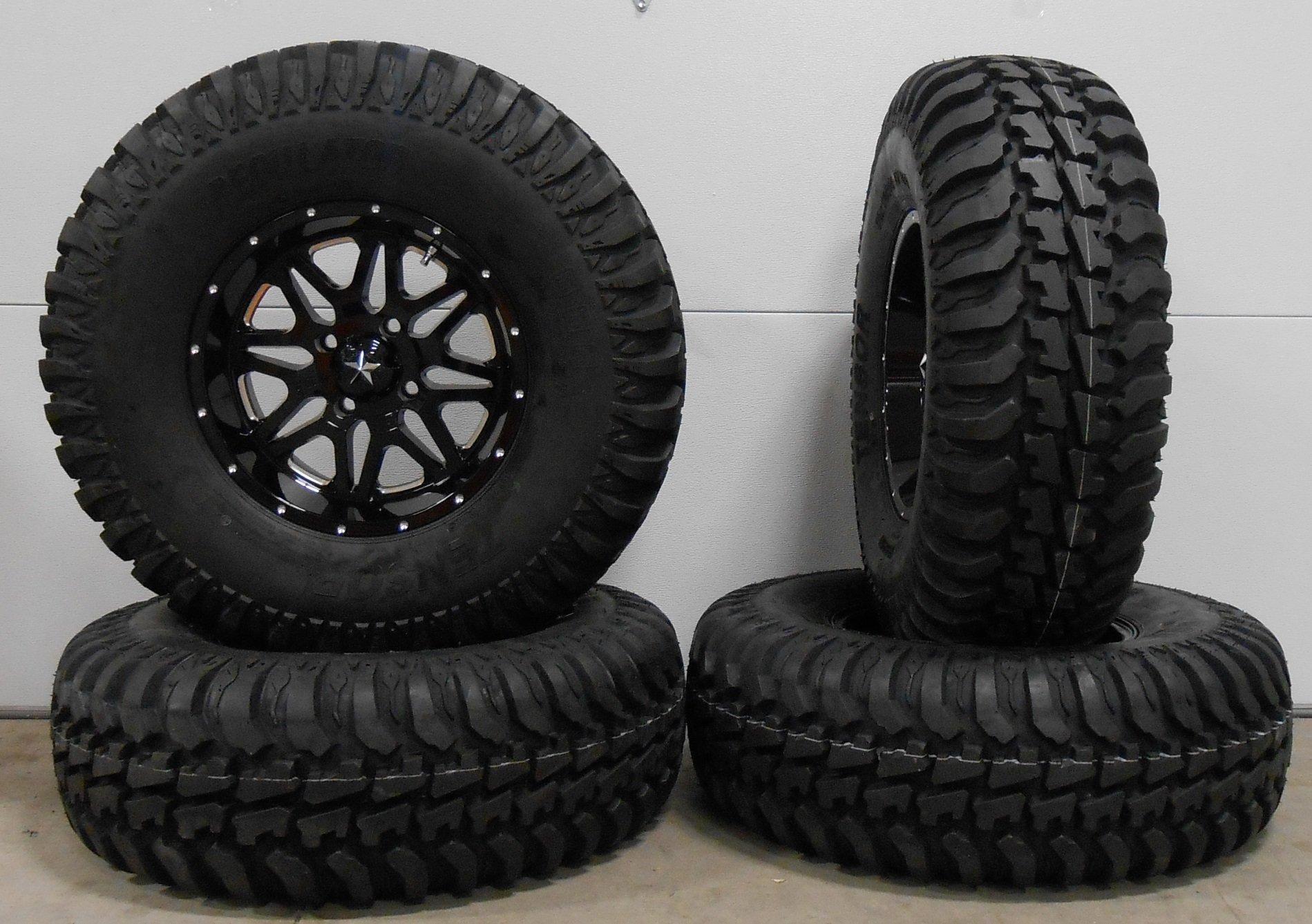 Bundle - 9 Items: MSA Black Vibe 14'' ATV Wheels 30'' Regulator Tires [4x110 Bolt Pattern 10mmx1.25 Lug Kit]