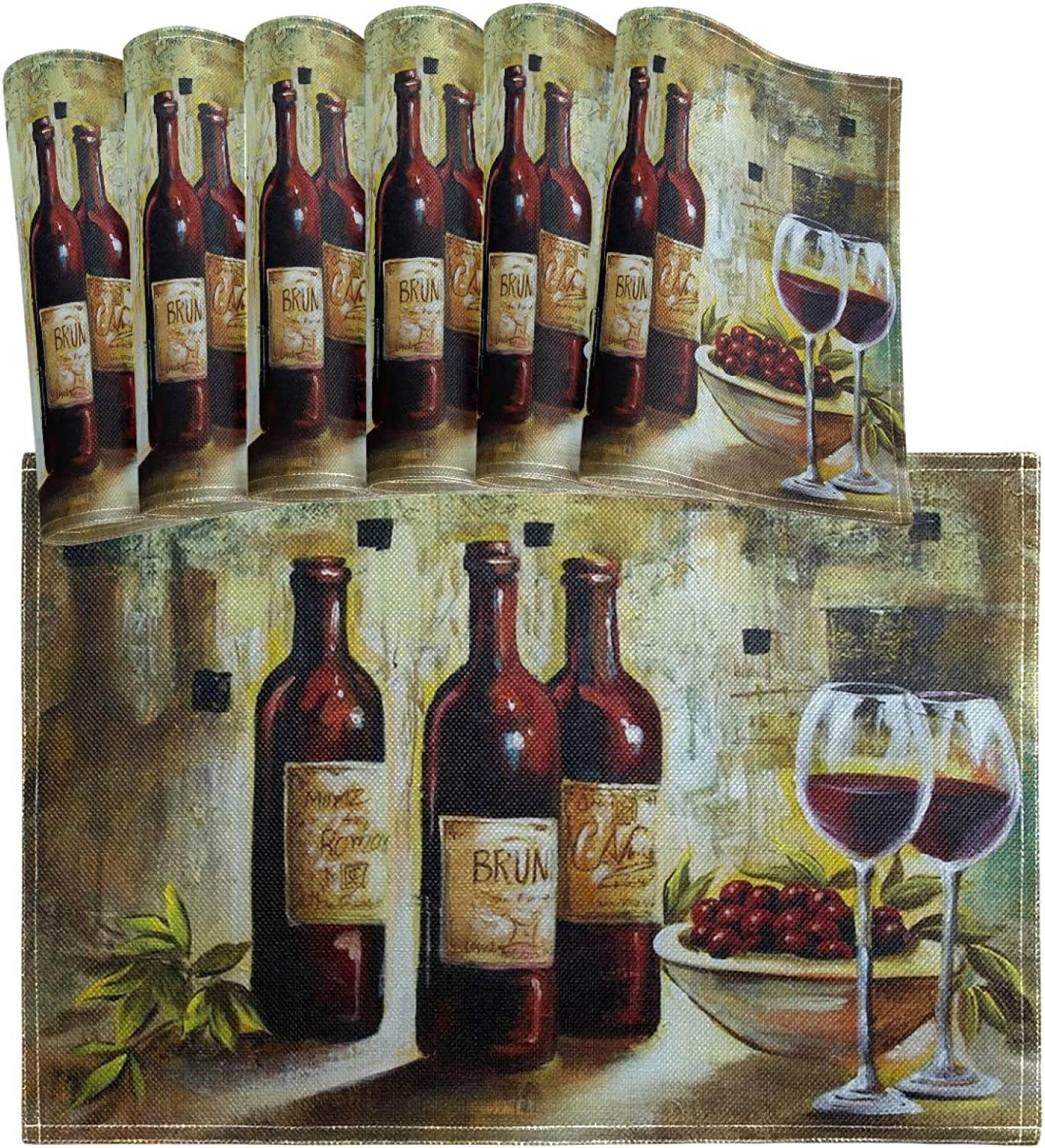 Oarencol Vintage Wine Bottle Glass Grape Painting Placemats Table Mats Set of 6, Heat-Resistant Washable Clean Kitchen Place Mats for Dining Table Decoration