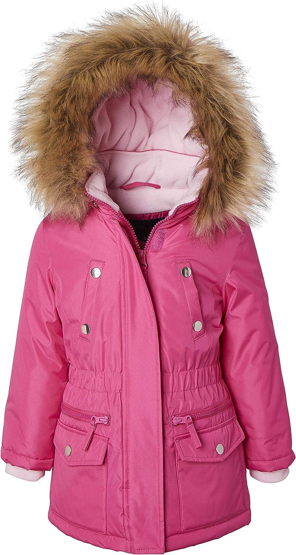 Girls Fleece Lined Heavy Winter Anorak Jacket Coat Faux Fur Trim Zip-Off Hood