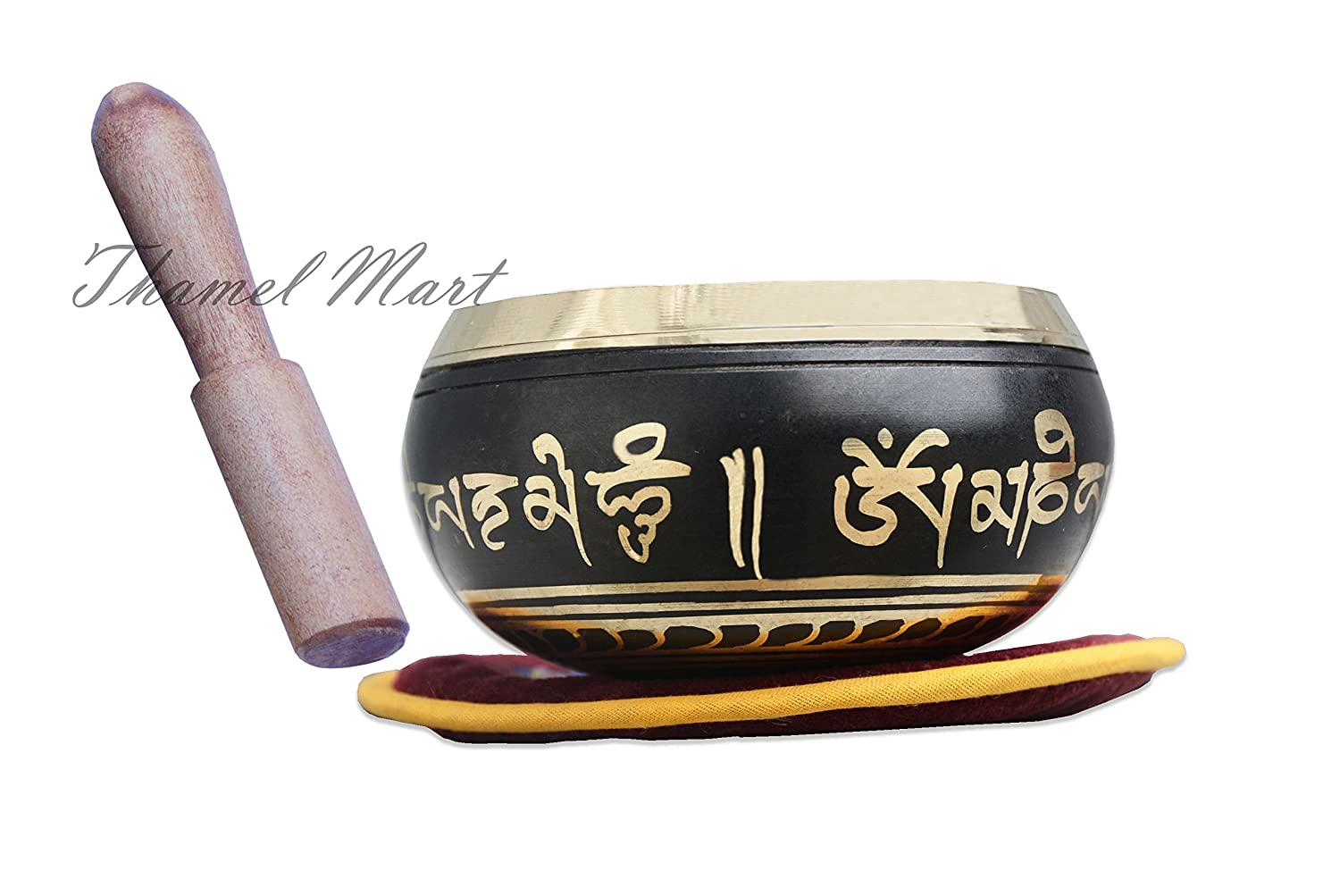 Meditation Om Mani Padme Hum Peace Wooden Striker & Cushion SINGING BOWL HOUSE P. Ltd. tha-4231