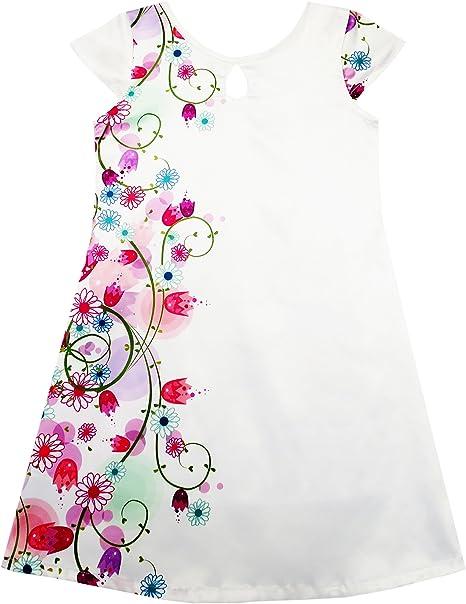 JH76 Sunny Fashion Vestido para niña Blanco Manchar Flor Impresión Gorra Manga Fiesta playa Sol 10