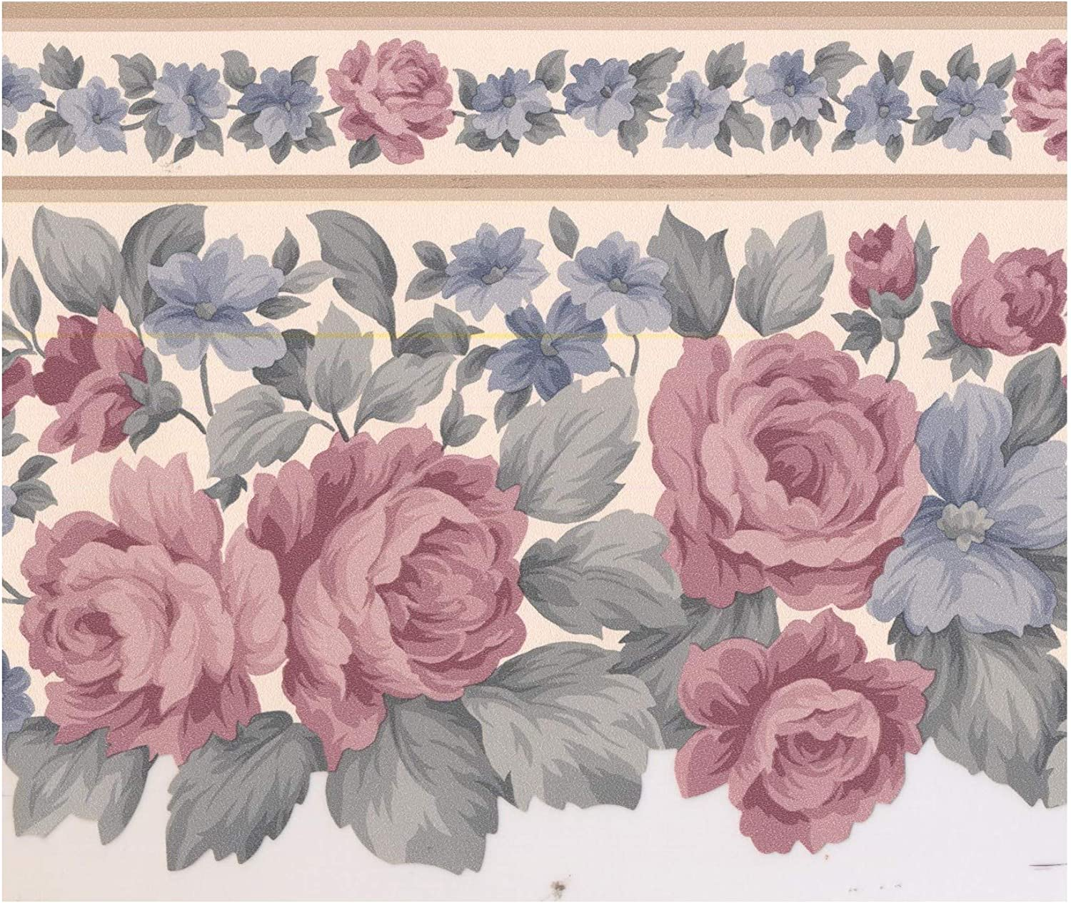 Wall Border Rouge Pink Rose Mauve Purple Flower Wallpaper Border