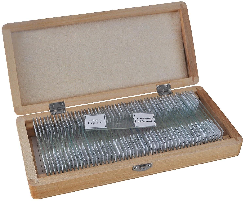 caja de muestras preparadas para microscopio Bresser