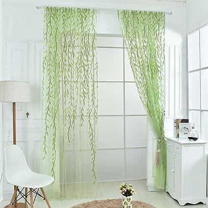 2 pz 100 x 270cm Willow Leaf Stile Tulle Voile Tenda Finestra Garza ...