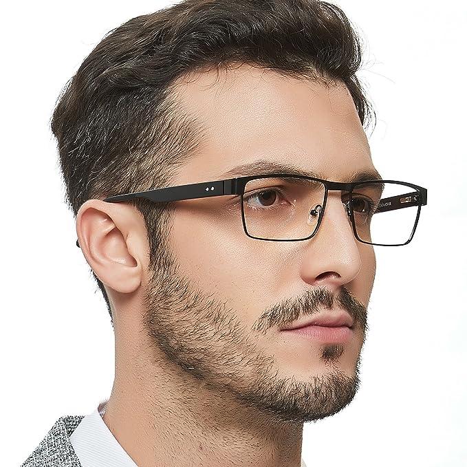 d3b31cbdc4 OCCI CHIARI Men Metal Durable Fashion Eyewear Frame With Clear Rectangle  Lenses  Amazon.ca  Clothing   Accessories