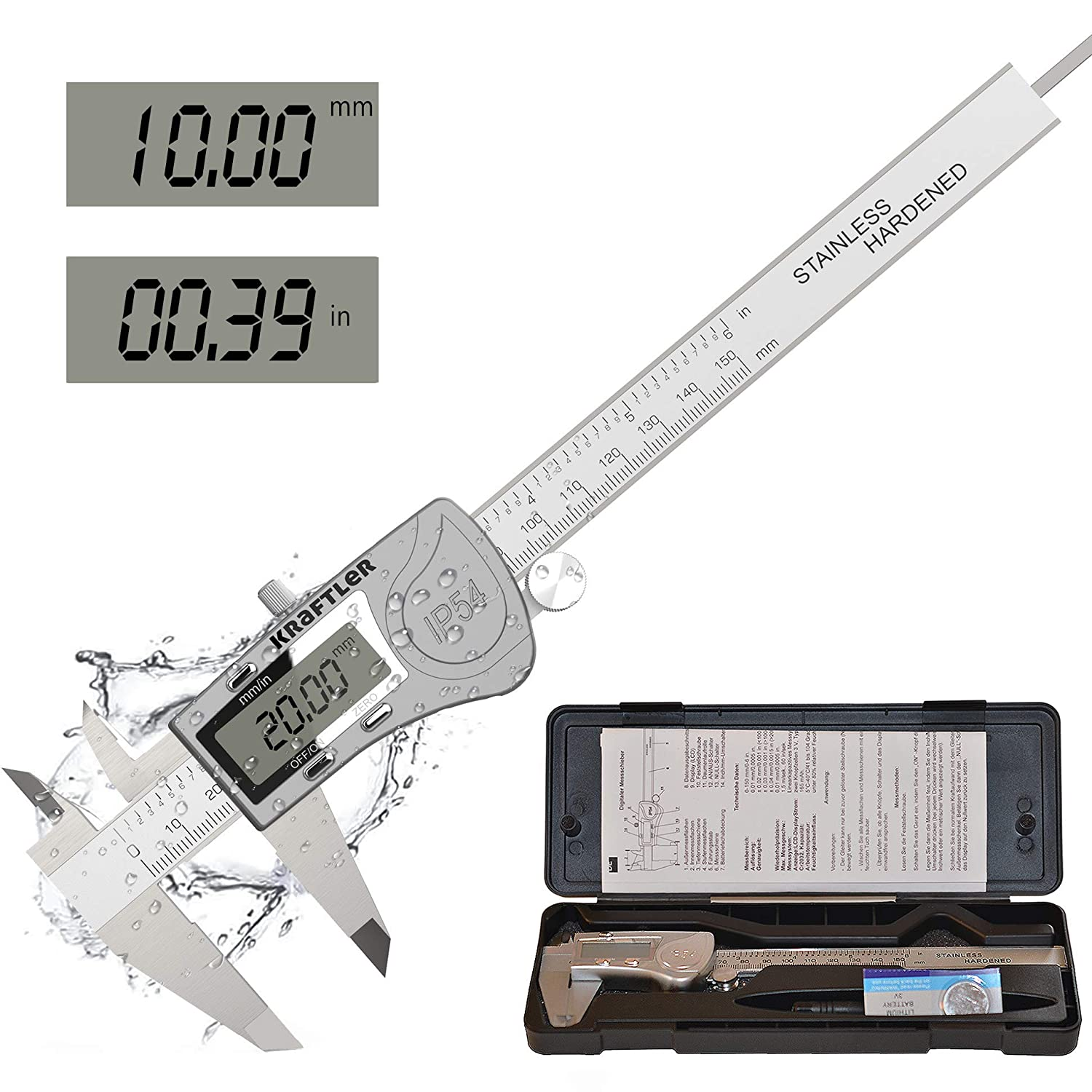 Digital Outside Micrometer Caliper Inch//Metric Conversion with LCD Display