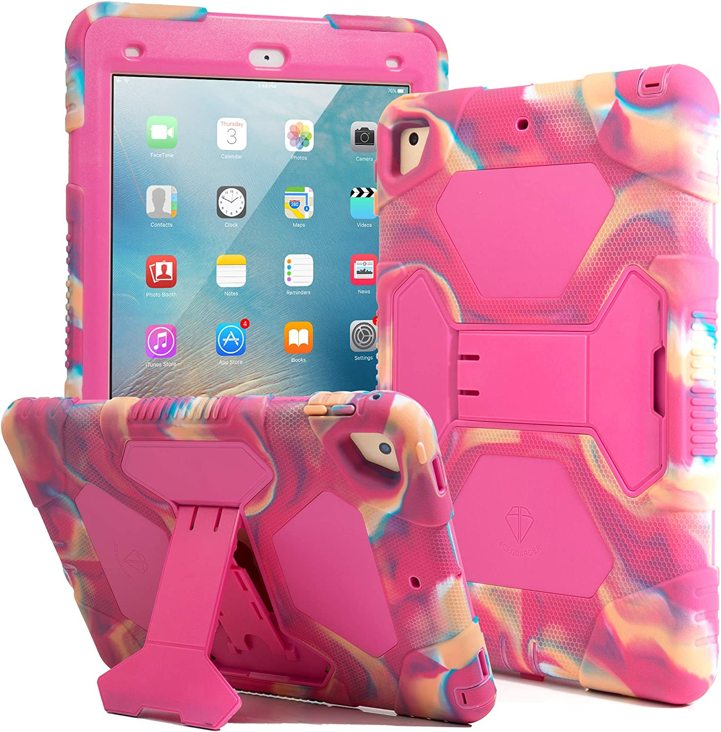 Kids Case for iPad 9.7 2018/2017, iPad Air 2, iPad Pro 9.7 Case Full Body Protective Silicone Cover Adjustable Kickstand for Apple iPad 9.7 5th / 6th Generation (Camo/Pink)