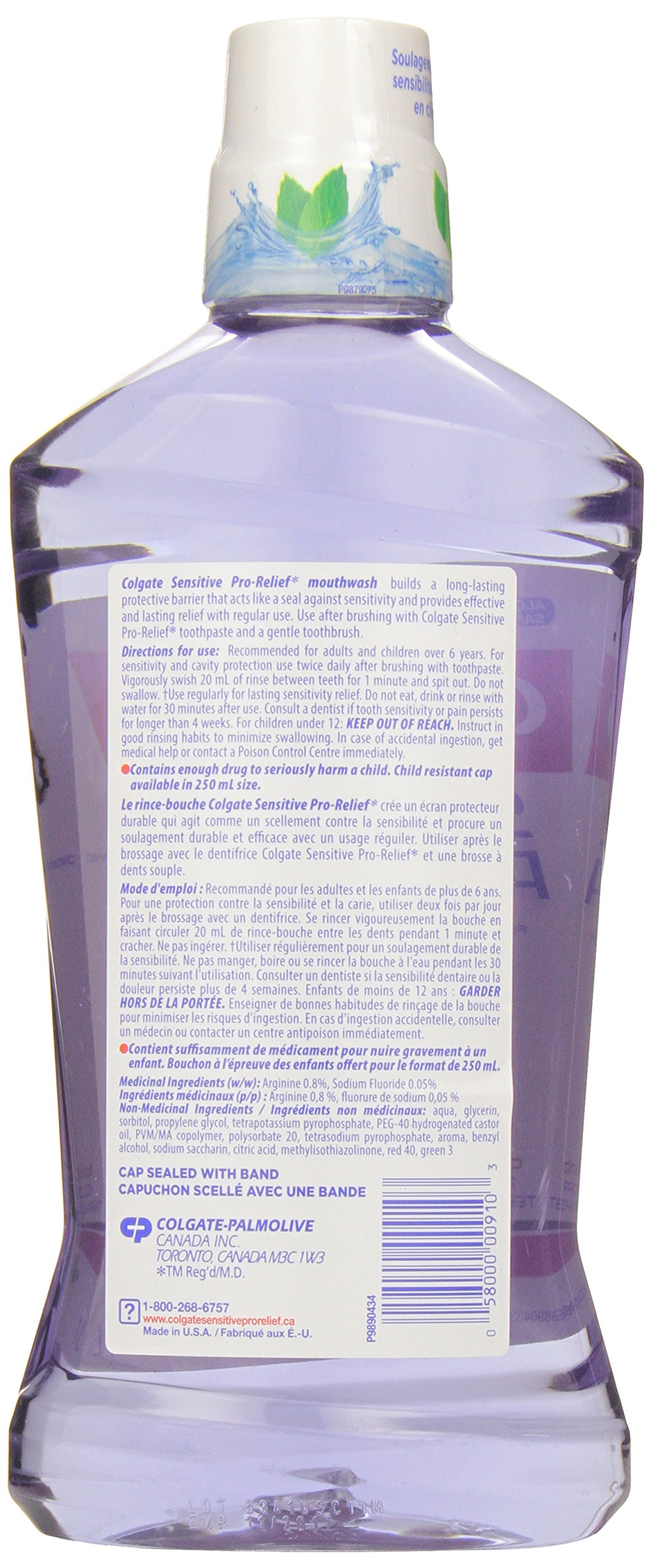 Colgate Sensitive Pro Relief Mouthwash Pro Argin Alcohol Free - Effective & Lasting Pain Relief (1000ml / 33.8 fl oz) by Colgate (Image #2)