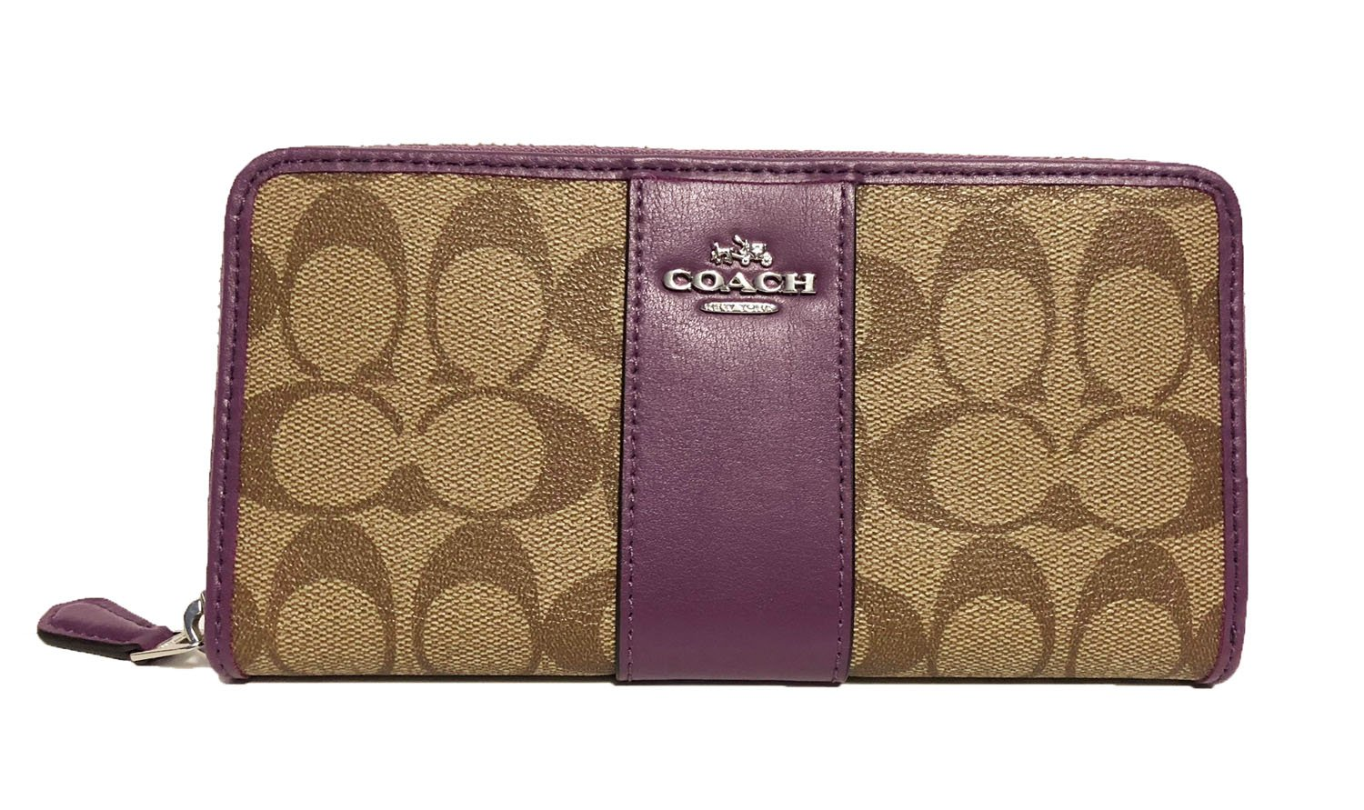 COACH ACCORDION ZIP WALLET IN SIGNATURE F54630 (SV/Kahki/Berry) by Coach