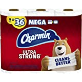 Charmin Ultra Strong Toilet Paper, 9 Mega Rolls = 36 Regular Rolls (Prime Pantry) (Packaging May Vary)
