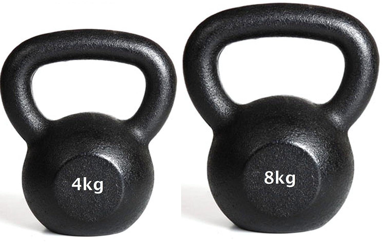 Kettlebell 4kg + 8kg Kugelhanteln Gusseisen Gewicht