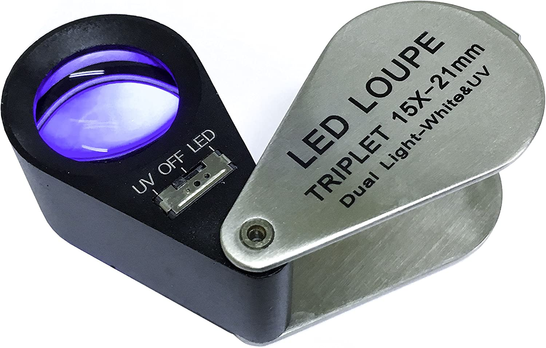 Lupa Triplete Acromática Plegable Euromex 15x 21 mm - LED Blanco y UV