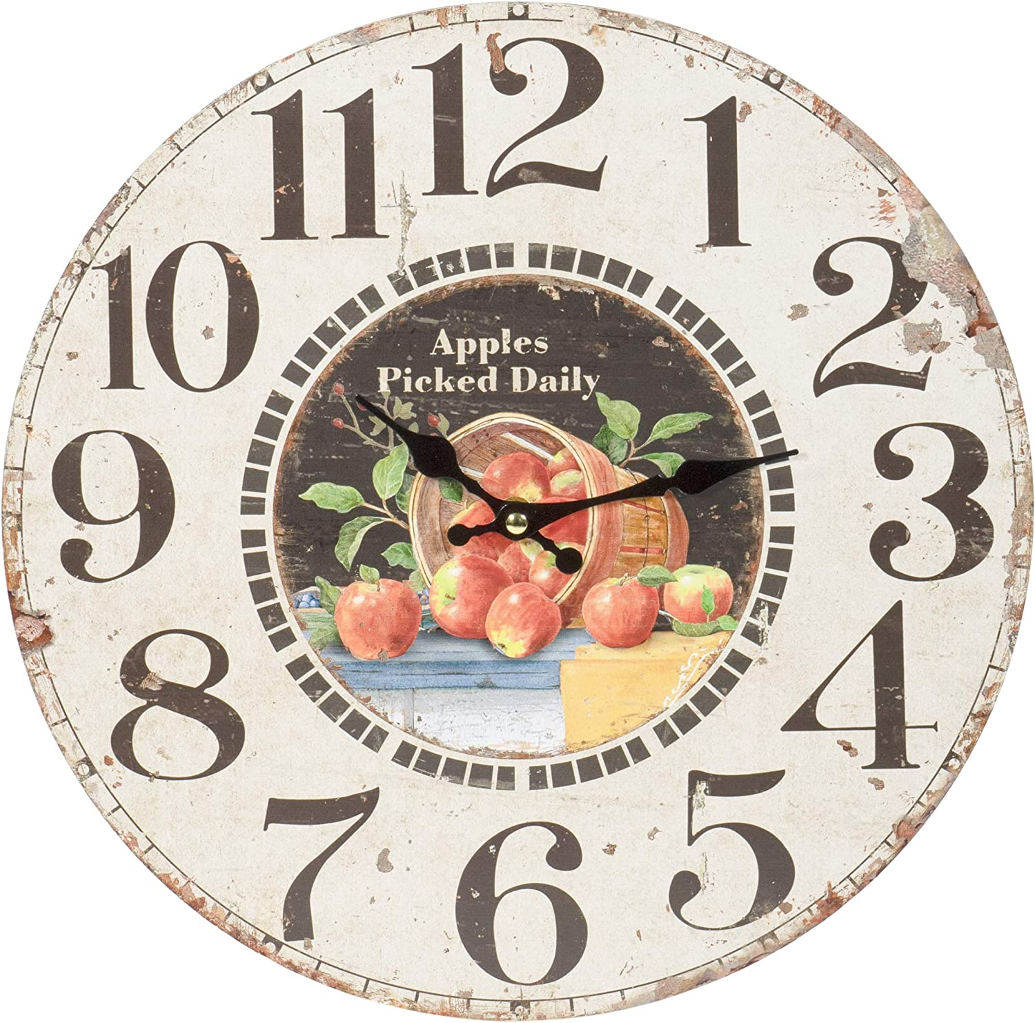 Apples Picked Daily — Round Wood Style Wall Clock - Farmhouse Rustic Home Decor - 13 Inches Diameter