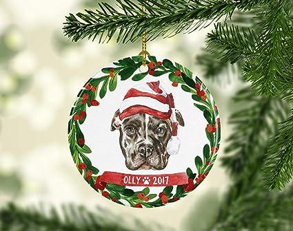 Pitbull Christmas Ornament Pitbull Ornament Dog Ornament Dog Christmas  Ornament Personalized Pet Gift Pet Ornament - Amazon.com: Pitbull Christmas Ornament Pitbull Ornament Dog Ornament