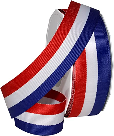 "Jascotina Red White and Blue Grosgrain Ribbon 1.5/""x25 Yard Spool"