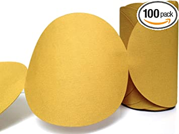 100 Pack 180 Grit 5 Inch Discs On a Roll PSA Gold Sticky Back DA Sanding Paper