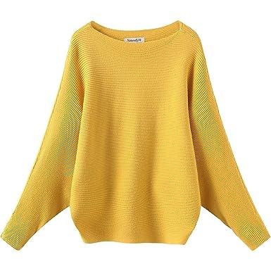 Naturally99 Women s Light Weight Long Dolman Sleeve Batwing Premium Wool  Sweater Knit Top (Mustard) cd1a4e9841
