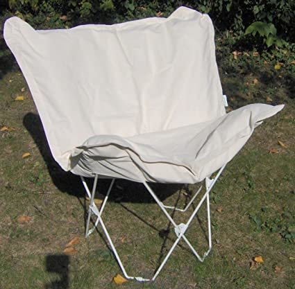Padded Butterfly Chair   Natural Cover   White Frame