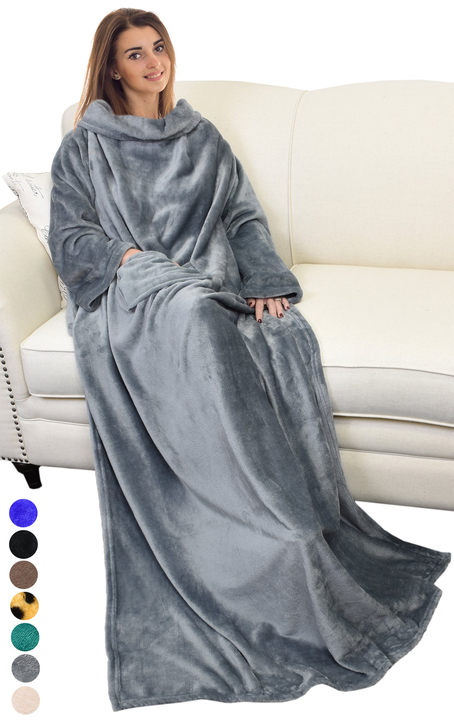 Adults Wearable Blanket with Sleeves Arms,Soft Cozy Plush Fleece Wrap Throws Blanket Robe for Women and Men Grey By Catalonia